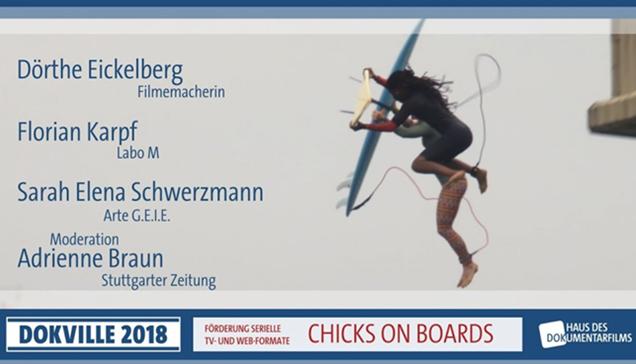 "DOKVILLE 2018: Plakat zu Panel über ""Chicks on Boards"" (© HDF)"