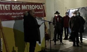 Goggo Gensch während der Kundgebung zum Erhalt des Metropol Kino Stuttgart © Astrid Beyer