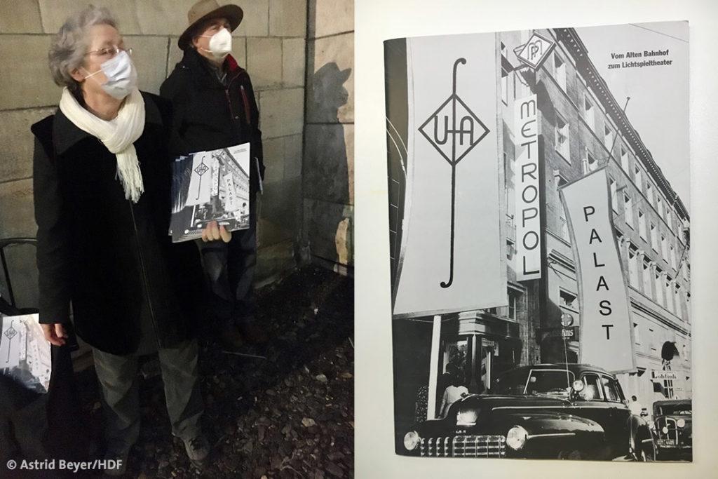 Links: Kundgebung zum Erhalt des Metropol Kino Stuttgart © Astrid Beyer | Rechts: Der Metropol-Palast kurz nach der Eröffnung 1949 © Photo Archiv Dünnwald-Metzler, Fellbach