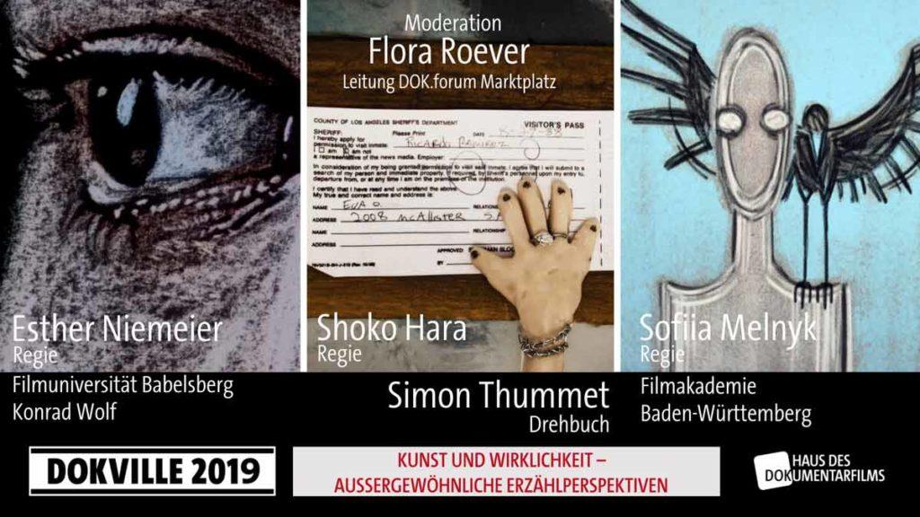"""Poster zum Panel """"Kunst und Wirklichkeit - Außergewöhnliche Erzählperspektiven"""" bei Dokville 2019 © HDF"""